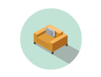 Vector isometric modern orange comfortable armchair, interior design element. Royalty Free Stock Photography