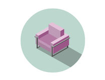 Vector isometric modern pink armchair, 3d flat interior design element. Stock Photography
