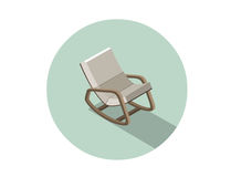 Vector isometric modern rocking chair, 3d flat interior design element. Royalty Free Stock Photography