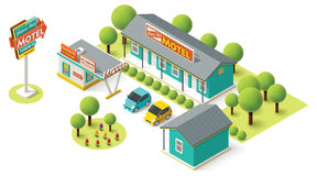 Vector isometric motel Royalty Free Stock Images