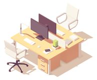 Vector isometric office desk stock illustration