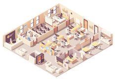 Vector isometric office interior plan. Vector isometric corporate office interior plan. Reception, elevator, conference room, presentation room, executive or CEO royalty free illustration