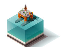 Vector isometric oil rig Royalty Free Stock Photography