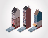 Vector isometric old buildings. Part 2 Stock Photography