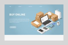 Online Shopping and Delivery Illustration stock illustration
