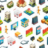 Vector isometric online shopping icons background or pattern illustration vector illustration