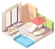 Vector isometric outdoor pool lounge royalty free stock photos