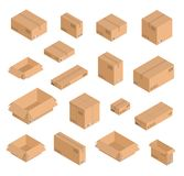 Vector isometric paper boxes set of different size. Open and closed empty post office mail shipping boxes with writings. Vector isometric paper boxes set of Royalty Free Stock Photo