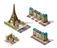 Vector isometric Paris architecture elements Royalty Free Stock Photo