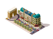 Vector isometric Paris street. Isometric Parisian street with buildings and Arch royalty free illustration