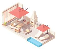 Vector isometric patio with barbecue and pool royalty free stock photo