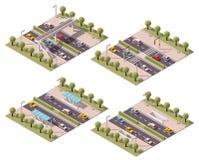 Vector isometric pedestrian crossings set Stock Photo
