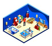 Vector isometric people at recreation room. Vector isometric people resting in cross section recreation room with entertainment and amusements - table tennis or royalty free illustration