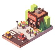 Vector isometric pizzeria building Stock Images