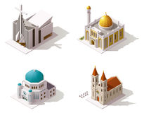 Vector isometric places of worship Stock Photos