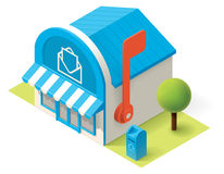 Vector isometric post office. Building icon vector illustration