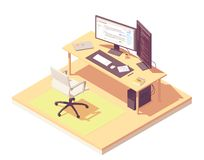 Vector isometric programmer workplace stock photography