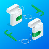 Vector isometric quality dental floss set and Toothpick with different color. Vector isometric quality dental floss set and Toothpick with different color Stock Photography
