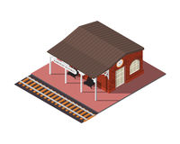Vector isometric railway station Royalty Free Stock Images