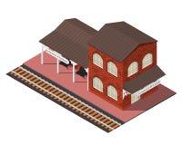Vector isometric railway station Royalty Free Stock Image