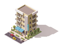 Vector isometric restaurant building. Isometric icon representing restaurant building Royalty Free Stock Photo