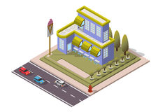 Vector Isometric Restaurant Building Royalty Free Stock Photography