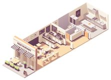 Vector isometric restaurant interior cross-section stock images