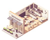 Vector isometric restaurant interior cross-section royalty free stock photos