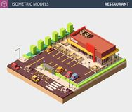Vector Isometric Restaurant or Pizzerie Building with Sale Sign Board. stock image