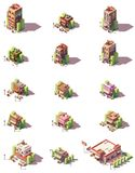 Vector isometric restaurants types icons Royalty Free Stock Photography