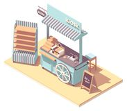 Vector isometric retail kiosk or cart stand. Retro design with wooden wheel, awning, shelves, cash register, credit card payment terminal stock illustration