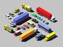 Vector isometric road cars, trucks and other vehicles.  Royalty Free Stock Photos