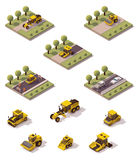 Vector isometric road surface making technology. Isometric icons representing road paving process Stock Image