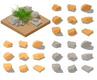 Free Vector Isometric Rocks Clipart. Stones Set In Different Colors For Illustrations Isolated On White With Semitransparent Shadows. Royalty Free Stock Image - 185608166