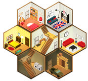 Vector isometric rooms icon. Vector isometric living rooms icon. Vector illustration Royalty Free Stock Photos