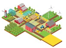 Vector 3d isometric rural farm with mill, garden field, farm animals, trees, tractor combine harvester, house, windmill. Vector isometric rural farm with mill Royalty Free Stock Images