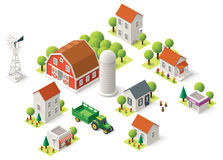 Vector isometric rural set Stock Photography