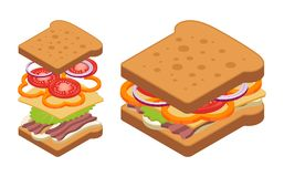 Vector isometric sandwich. Royalty Free Stock Photo