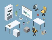 Vector isometric sat of office furniture, 3d flat interior design elements Royalty Free Stock Photo
