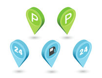 Vector isometric sat of road pointer pin, car parking sign, gas station. Stock Images