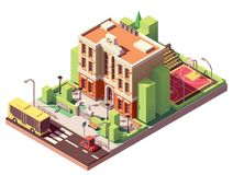 Vector isometric school building Royalty Free Stock Image