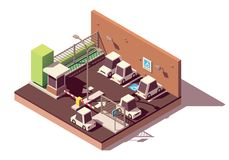 Vector isometric secure car parking royalty free illustration