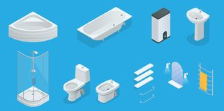 Vector isometric set of bathroom furniture. Jacuzzi, bath, boiler, washbasin, shower, shower, toilet, bidet, dryer. Towel mirror shelves flat interior design royalty free illustration