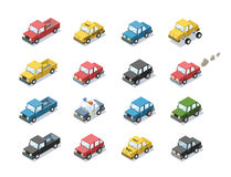 Vector isometric set of city passenger transport. Car, taxi, police, minivan, cat with exhaust, 3D flat design, cartoon cute car icons Stock Photography