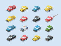 Vector isometric set of city passenger transport. Car, taxi, police, minivan, cat with exhaust, 3D flat design, cartoon cute car icons Royalty Free Stock Image
