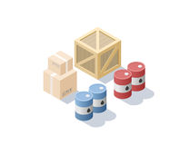 Vector isometric set of different cargo, blue and red oil barrels, carton boxes Stock Photos