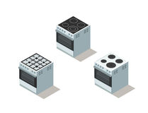 Vector isometric set of electric and gas cooker, stove, kitchen equipment. Stock Image