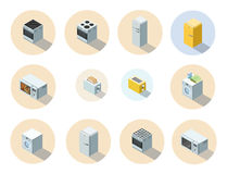 Vector isometric set of household appliances icon, 3d flat interior design. Royalty Free Stock Images