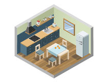 Vector isometric set of kitchen furniture and household appliances icons Stock Photo