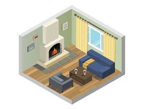 Vector isometric set of living room furniture with fireplace Stock Photo